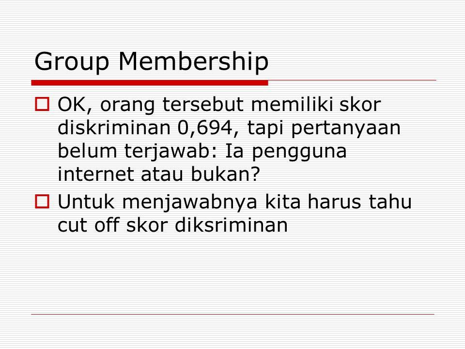 Group Membership OK, orang tersebut memiliki skor diskriminan 0,694, tapi pertanyaan belum terjawab: Ia pengguna internet atau bukan