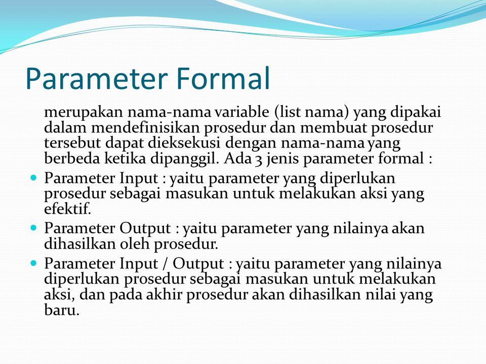 Parameter Formal