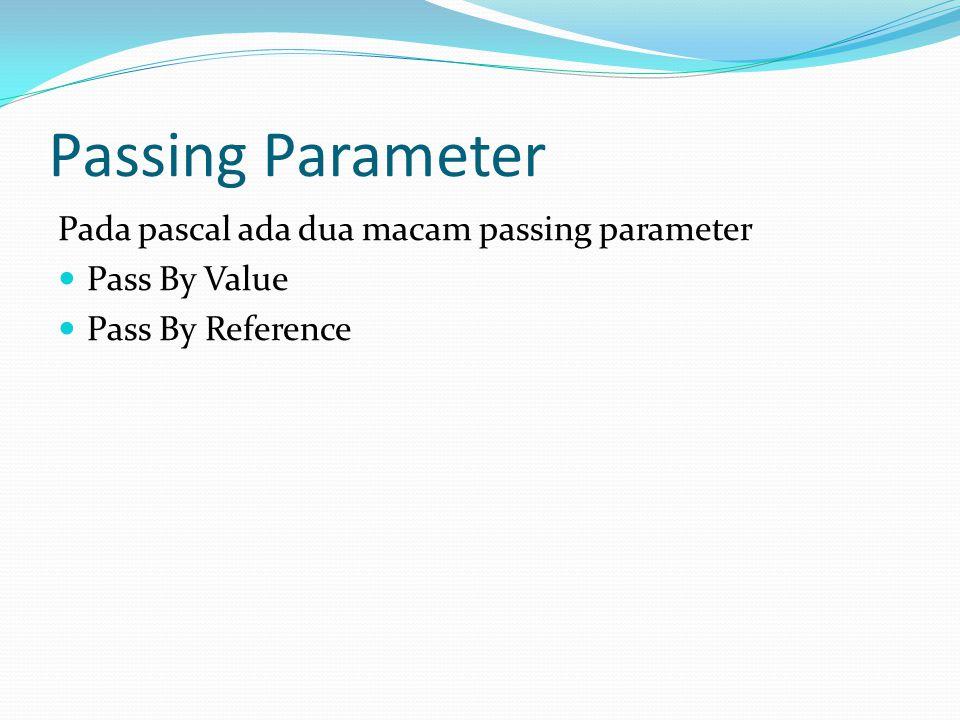 Passing Parameter Pada pascal ada dua macam passing parameter