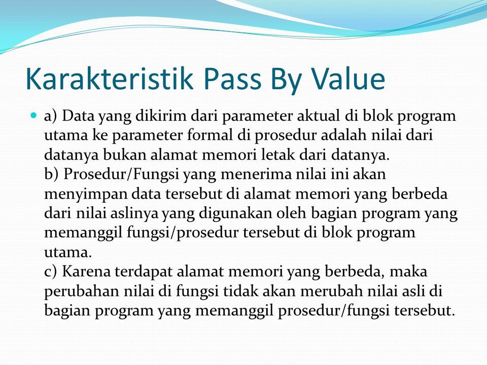 Karakteristik Pass By Value
