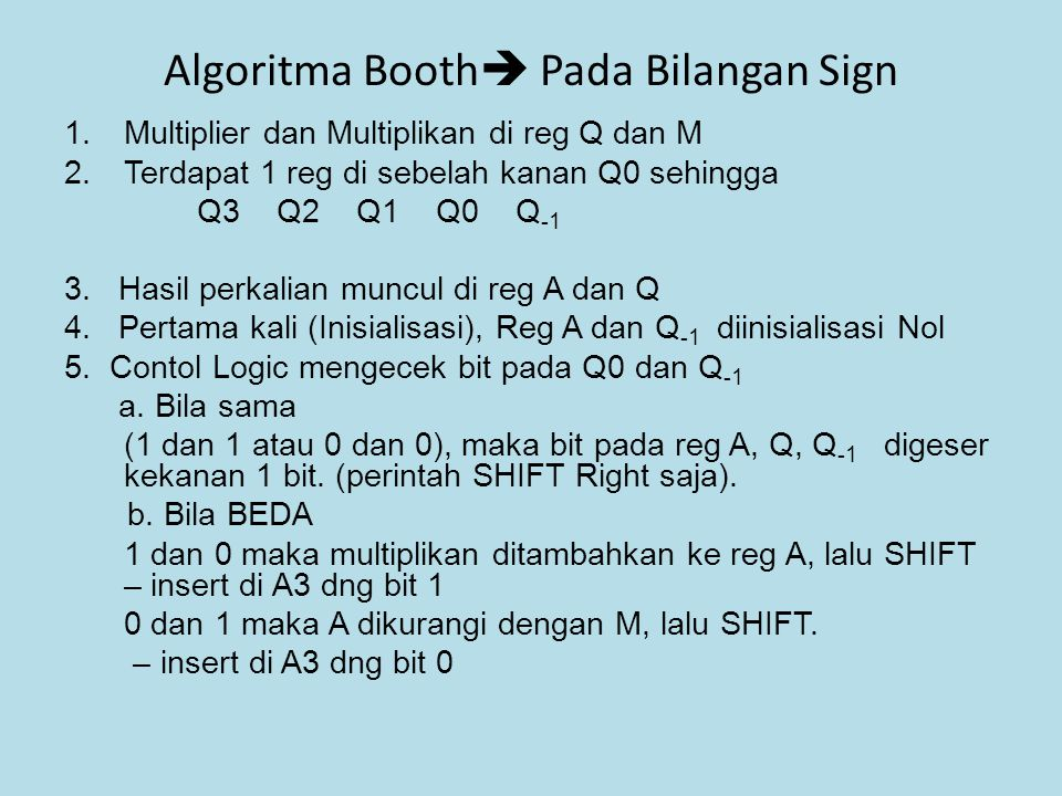 Algoritma Booth Pada Bilangan Sign