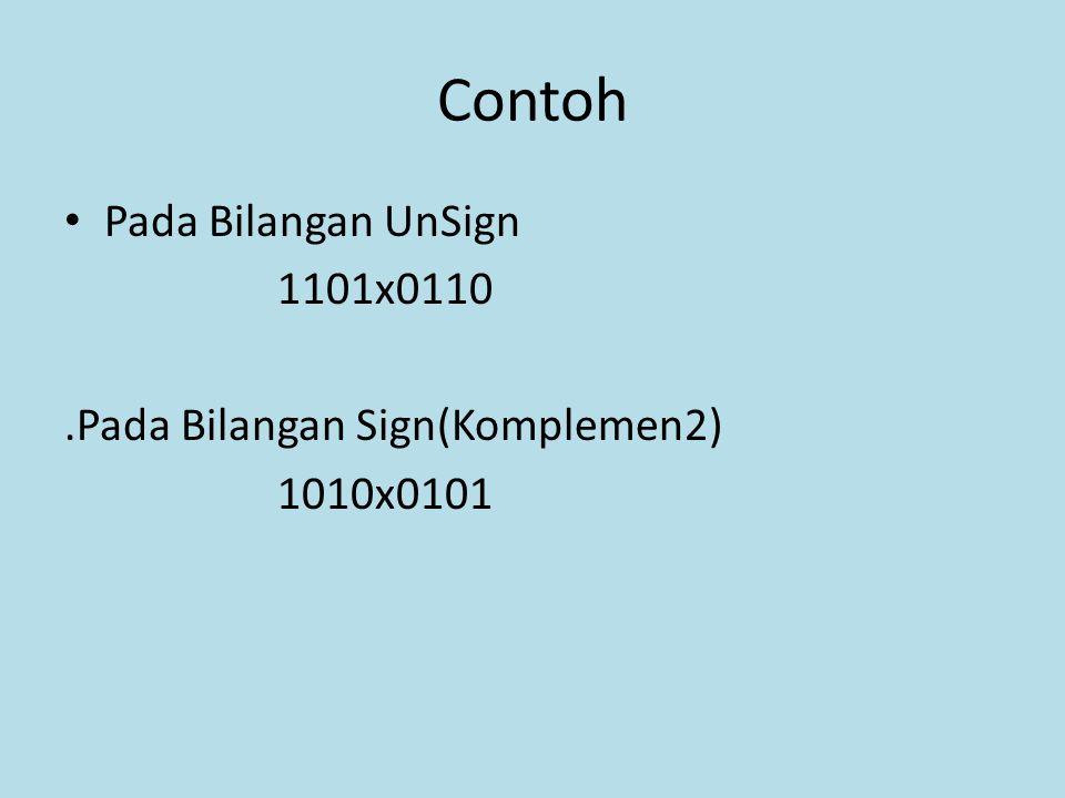 Contoh Pada Bilangan UnSign 1101x0110 .Pada Bilangan Sign(Komplemen2)