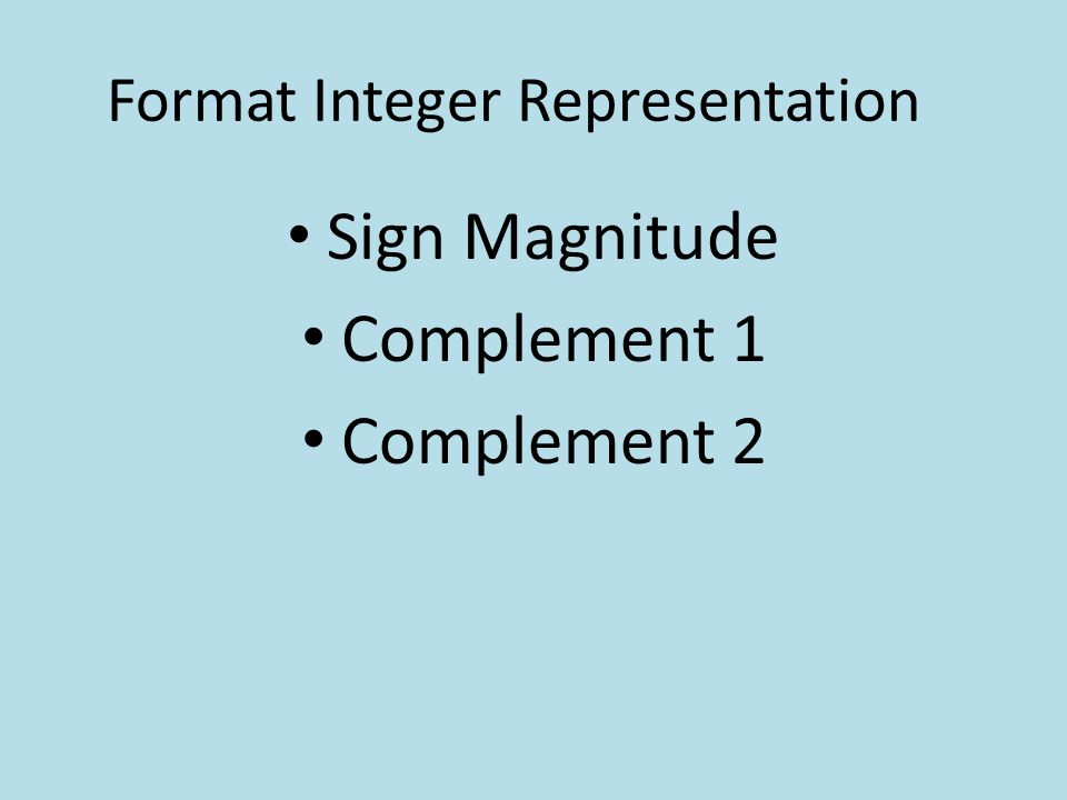 Format Integer Representation
