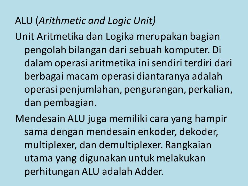 ALU (Arithmetic and Logic Unit) Unit Aritmetika dan Logika merupakan bagian pengolah bilangan dari sebuah komputer.