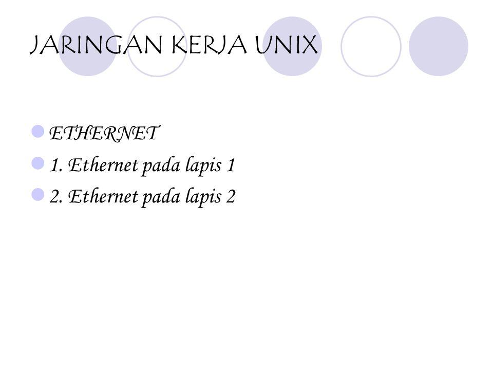 JARINGAN KERJA UNIX ETHERNET 1. Ethernet pada lapis 1