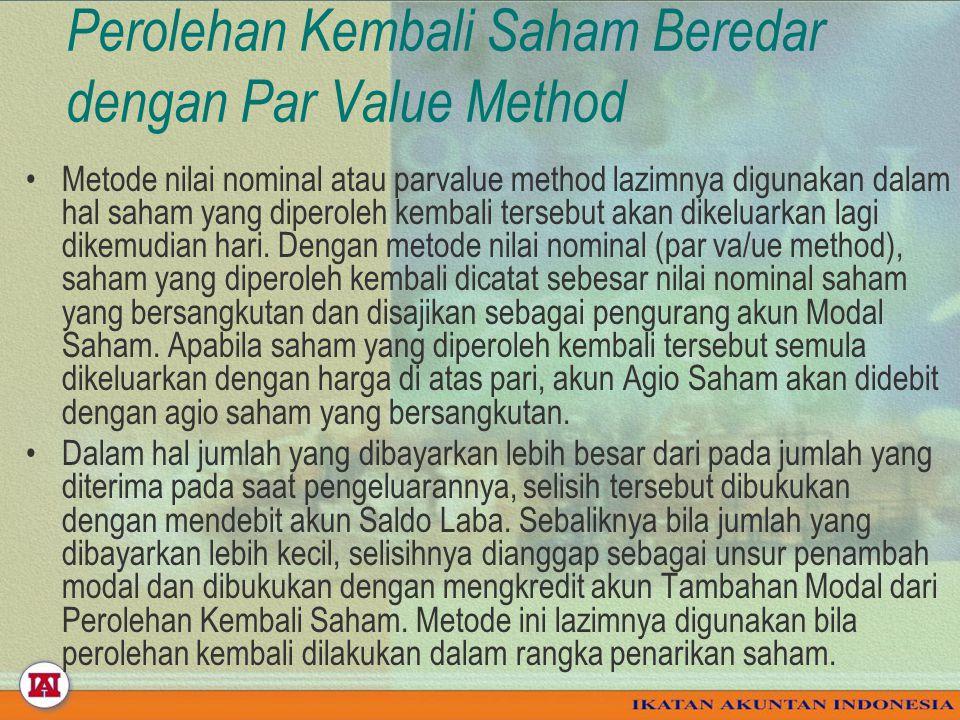 Perolehan Kembali Saham Beredar dengan Par Value Method