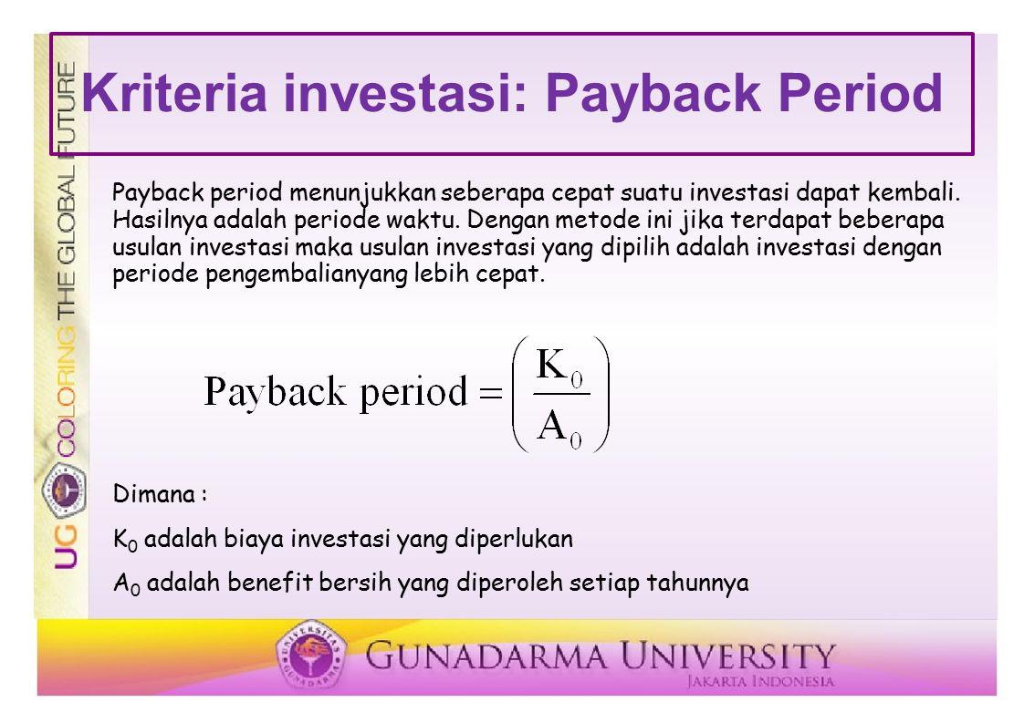 Kriteria investasi: Payback Period