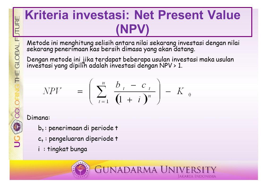 Kriteria investasi: Net Present Value (NPV)