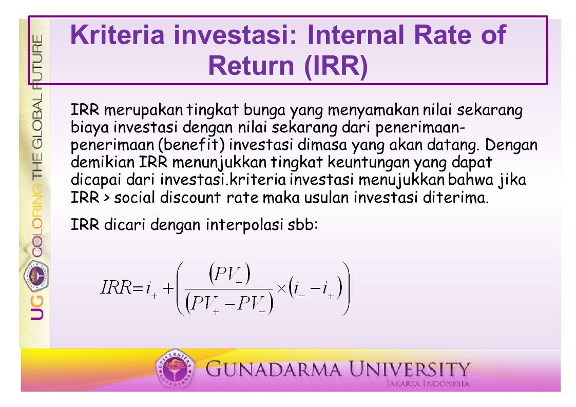 Kriteria investasi: Internal Rate of Return (IRR)