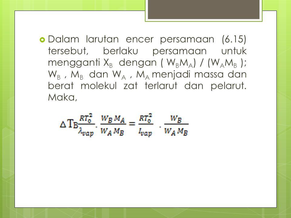 Dalam larutan encer persamaan (6