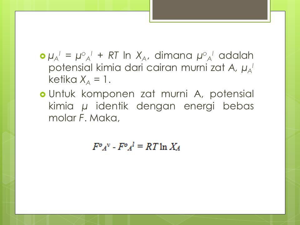 µAl = µoAl + RT ln XA, dimana µoAl adalah potensial kimia dari cairan murni zat A, µAl ketika XA = 1.