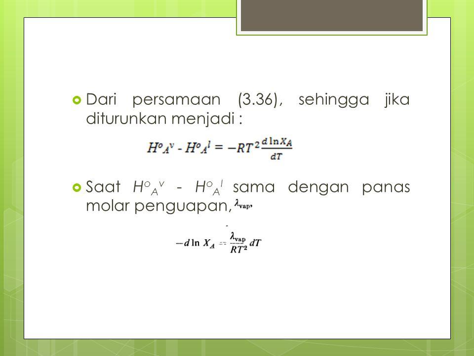 Dari persamaan (3.36), sehingga jika diturunkan menjadi :