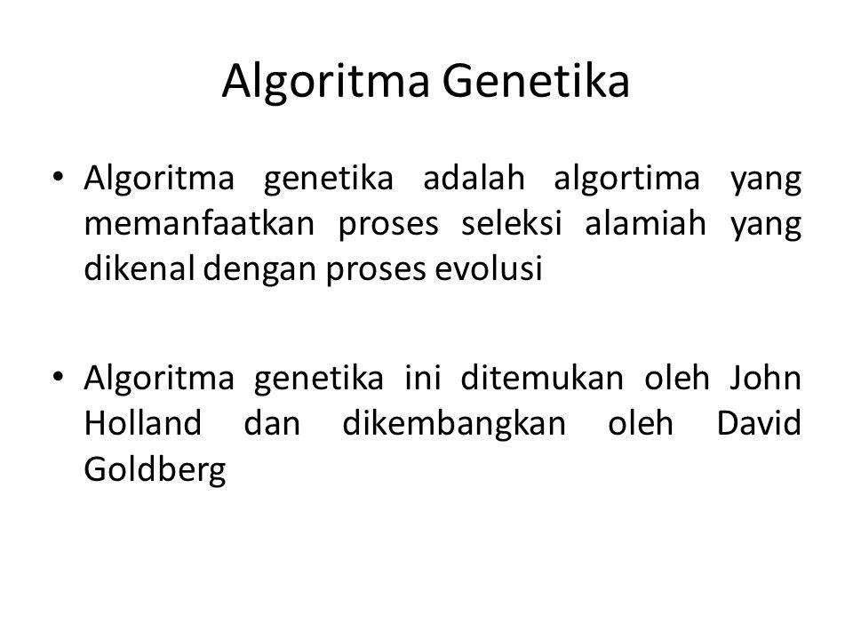 Algoritma Genetika Algoritma genetika adalah algortima yang memanfaatkan proses seleksi alamiah yang dikenal dengan proses evolusi.