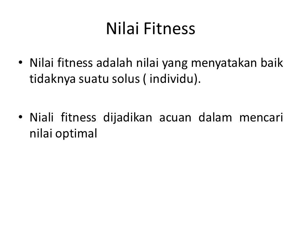 Nilai Fitness Nilai fitness adalah nilai yang menyatakan baik tidaknya suatu solus ( individu).