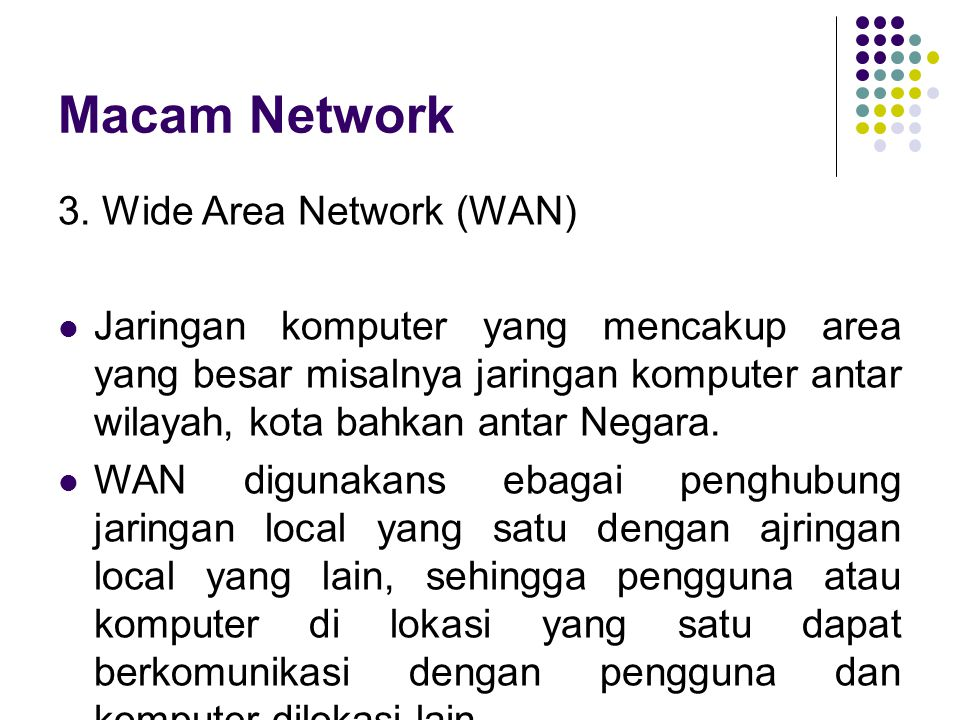 Macam Network 3. Wide Area Network (WAN)
