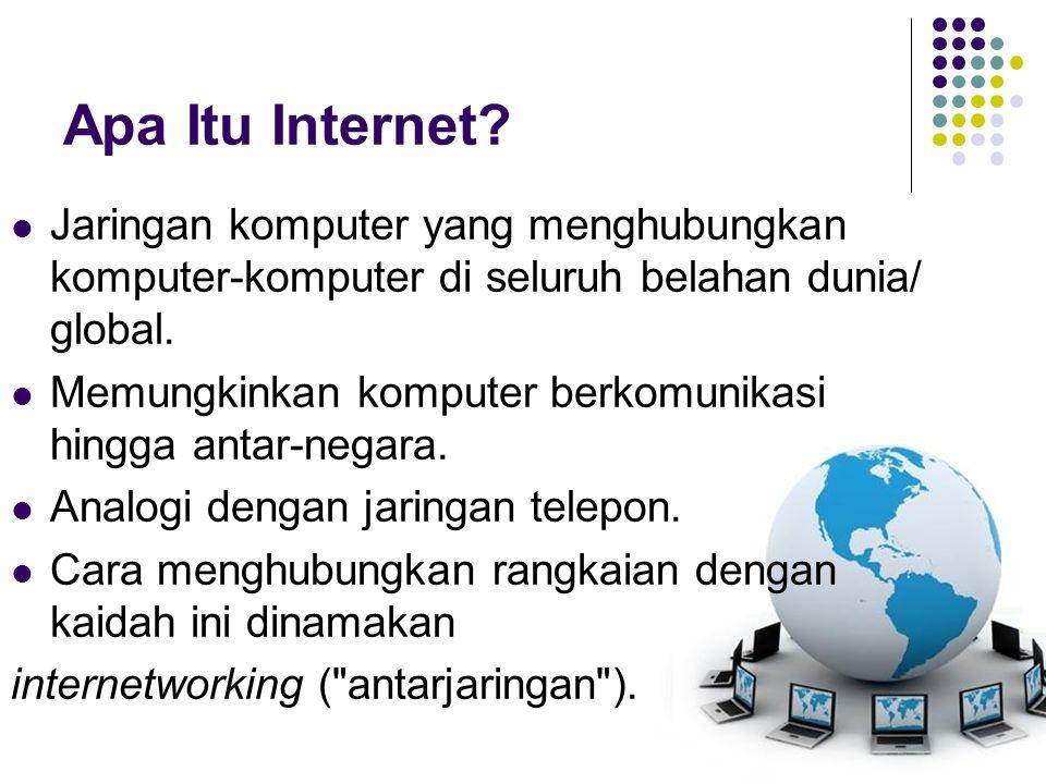 Apa Itu Internet Jaringan komputer yang menghubungkan komputer-komputer di seluruh belahan dunia/ global.
