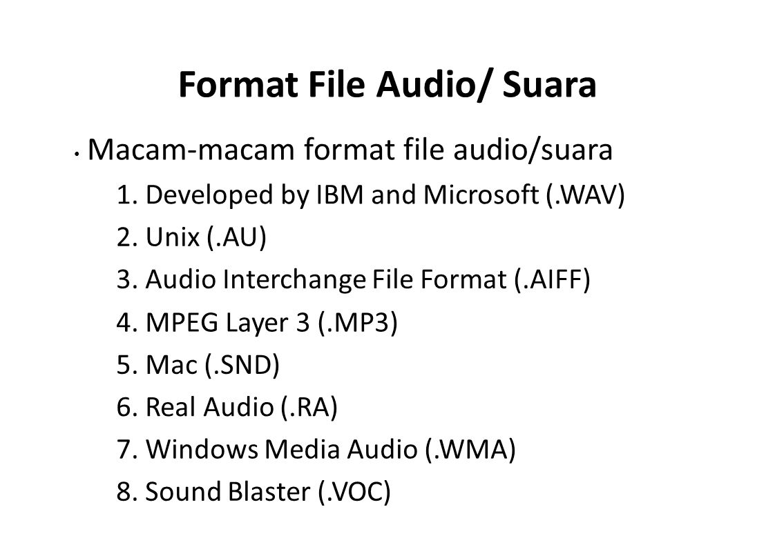 Format File Audio/ Suara