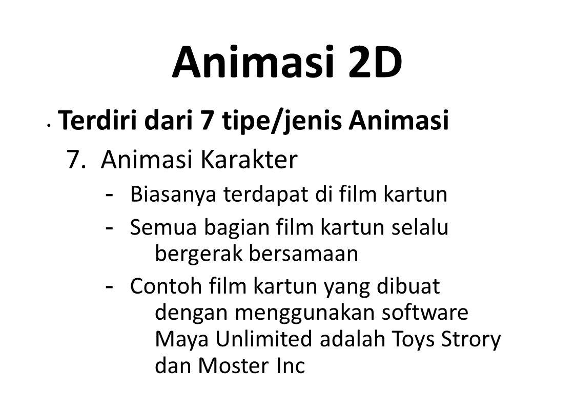 Animasi 2D 7. Animasi Karakter - Biasanya terdapat di film kartun