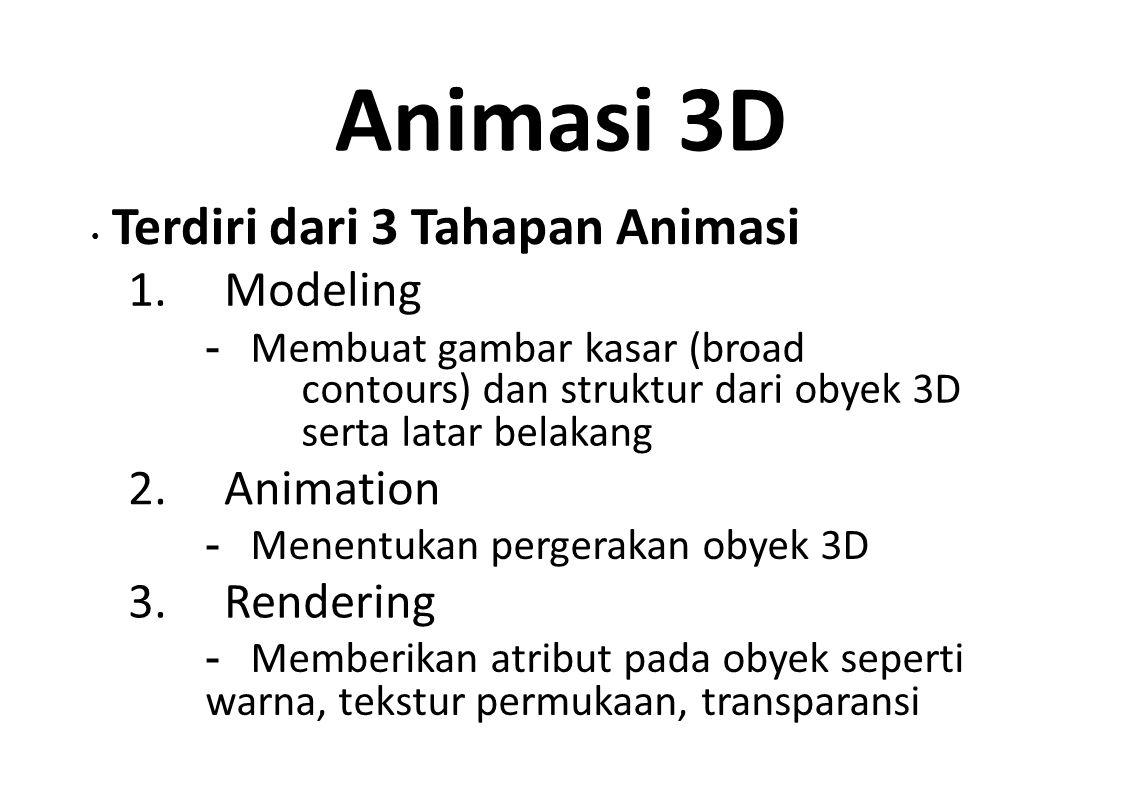 Animasi 3D 1. Modeling 2. Animation 3. Rendering
