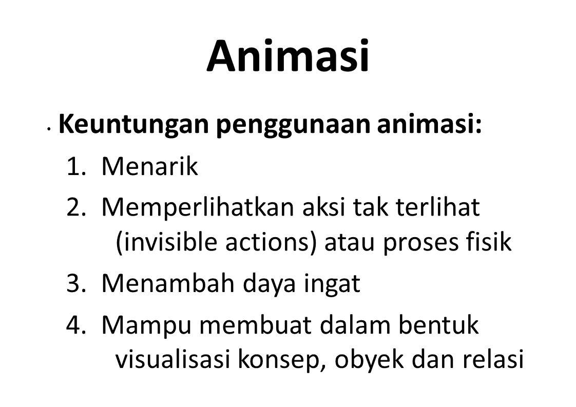Animasi • Keuntungan penggunaan animasi: 1. Menarik. 2. Memperlihatkan aksi tak terlihat (invisible actions) atau proses fisik.