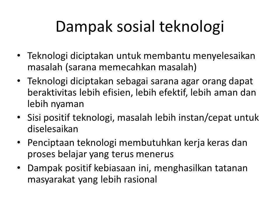 Dampak sosial teknologi