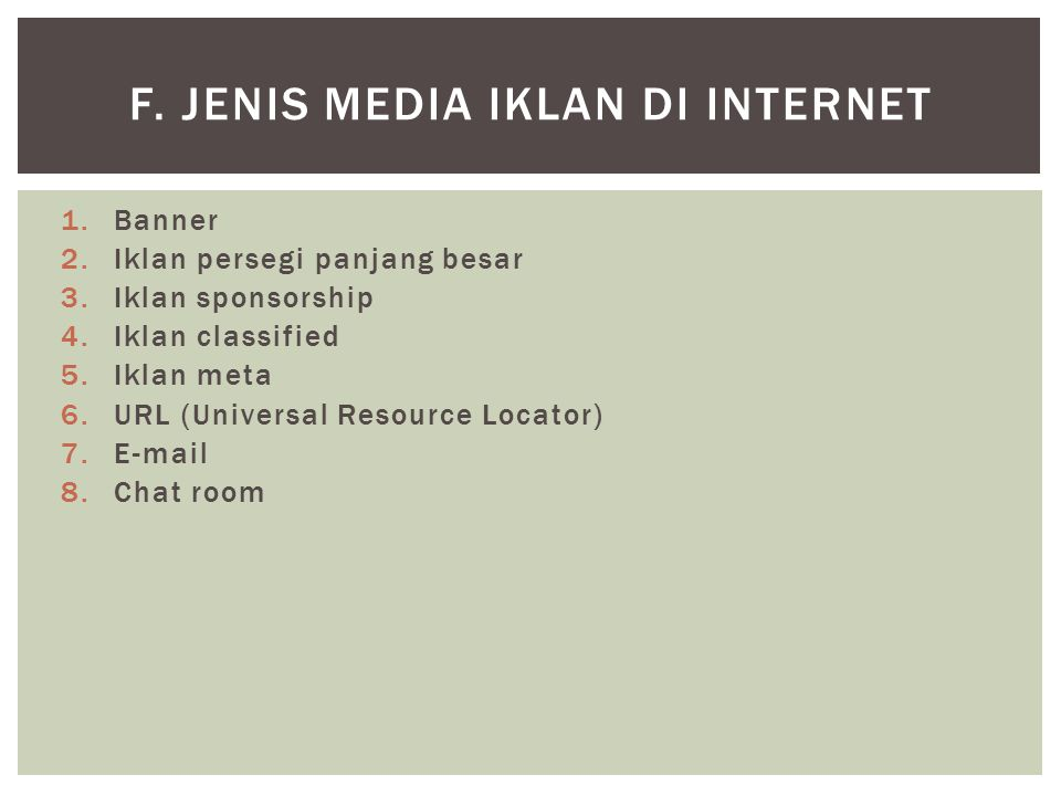 f. Jenis Media Iklan di Internet