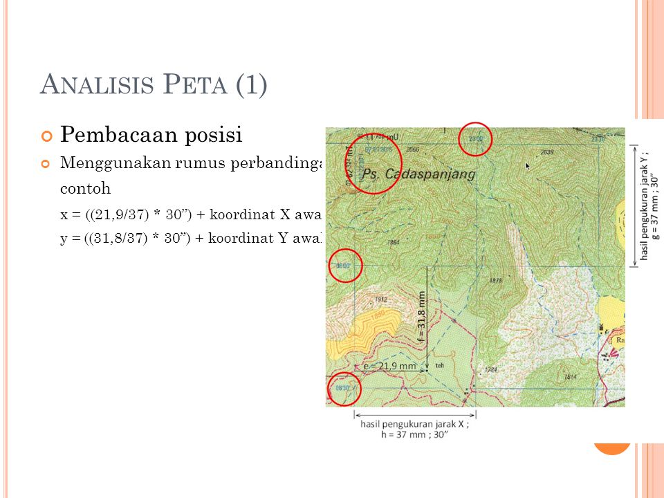 Analisis Peta (1) Pembacaan posisi Menggunakan rumus perbandingan :
