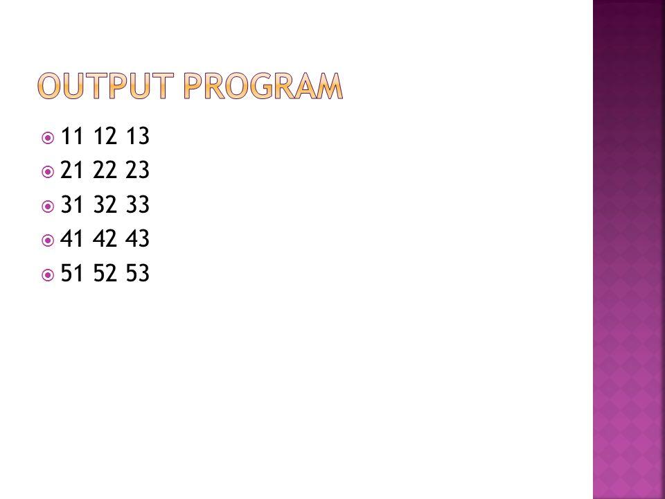 Output Program 11 12 13 21 22 23 31 32 33 41 42 43 51 52 53
