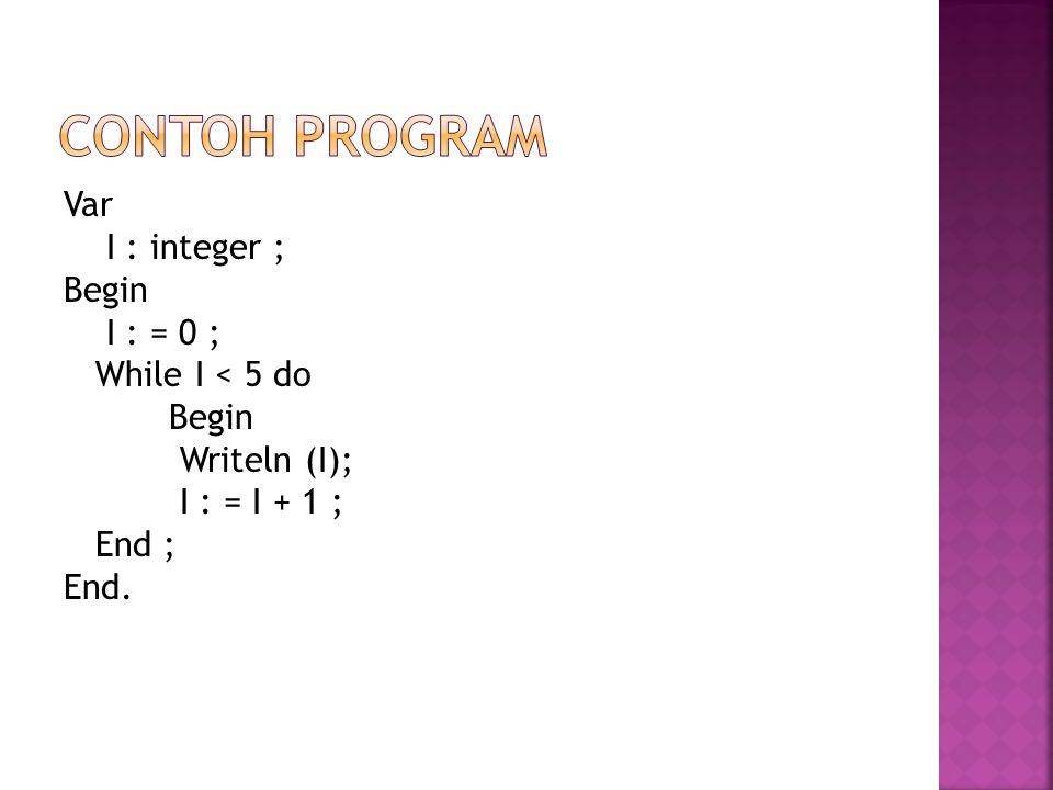 CONTOH PROGRAM Var I : integer ; Begin I : = 0 ; While I < 5 do Writeln (I); I : = I + 1 ; End ; End.