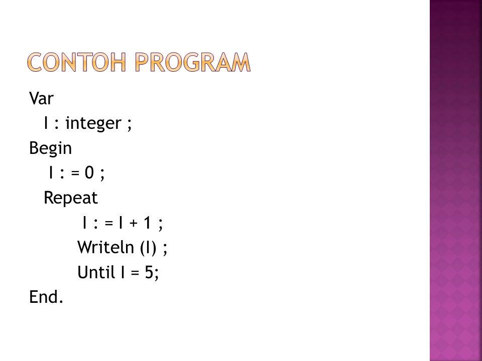 CONTOH PROGRAM Var I : integer ; Begin I : = 0 ; Repeat I : = I + 1 ; Writeln (I) ; Until I = 5; End.