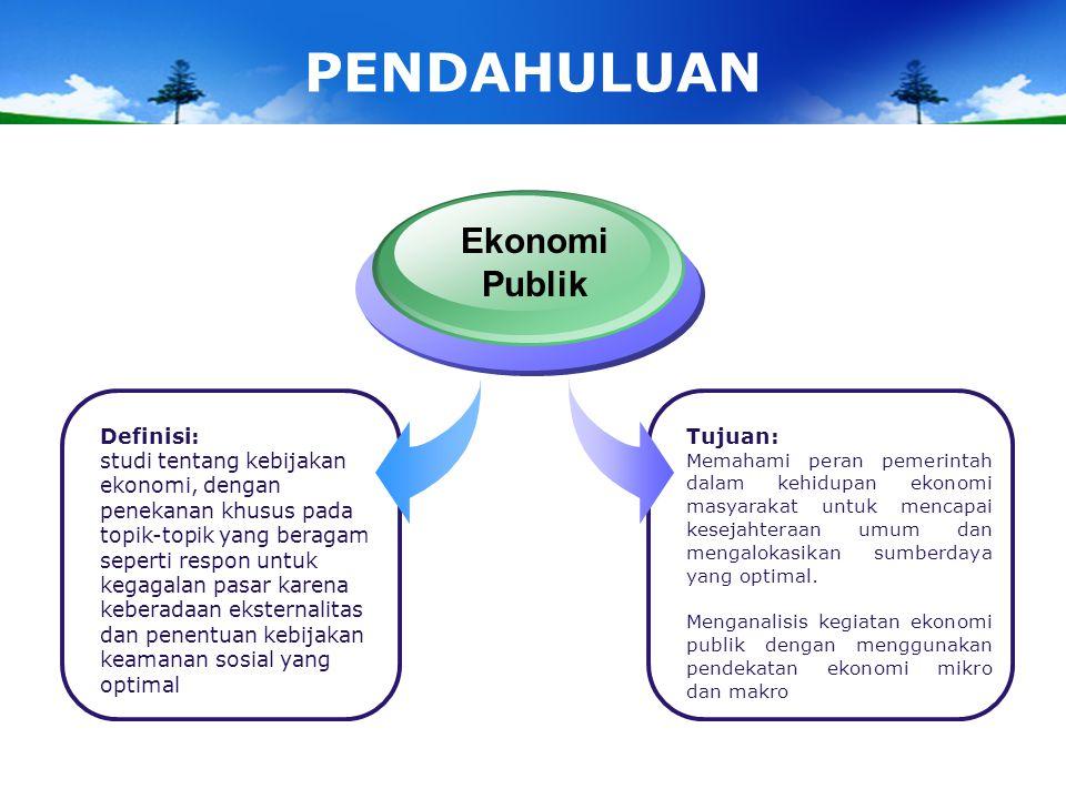 PENDAHULUAN Ekonomi Publik Definisi: