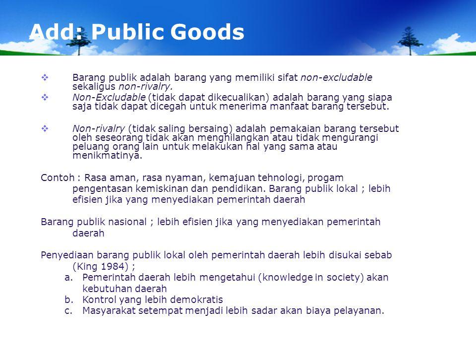 Add: Public Goods Barang publik adalah barang yang memiliki sifat non-excludable sekaligus non-rivalry.