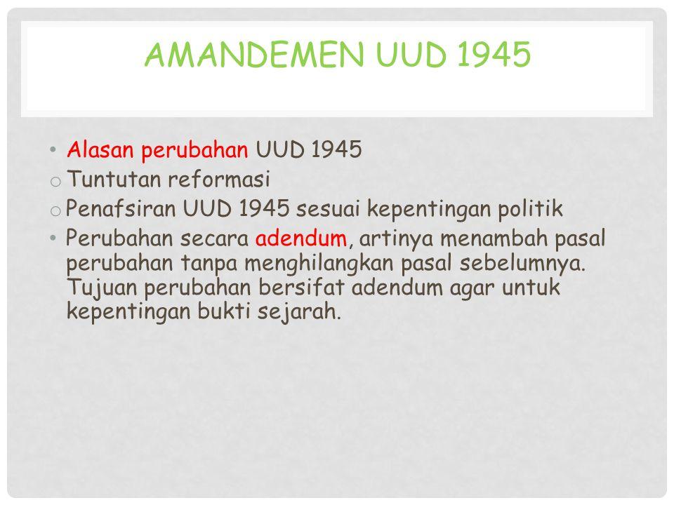 Amandemen UUD 1945 Alasan perubahan UUD 1945 Tuntutan reformasi