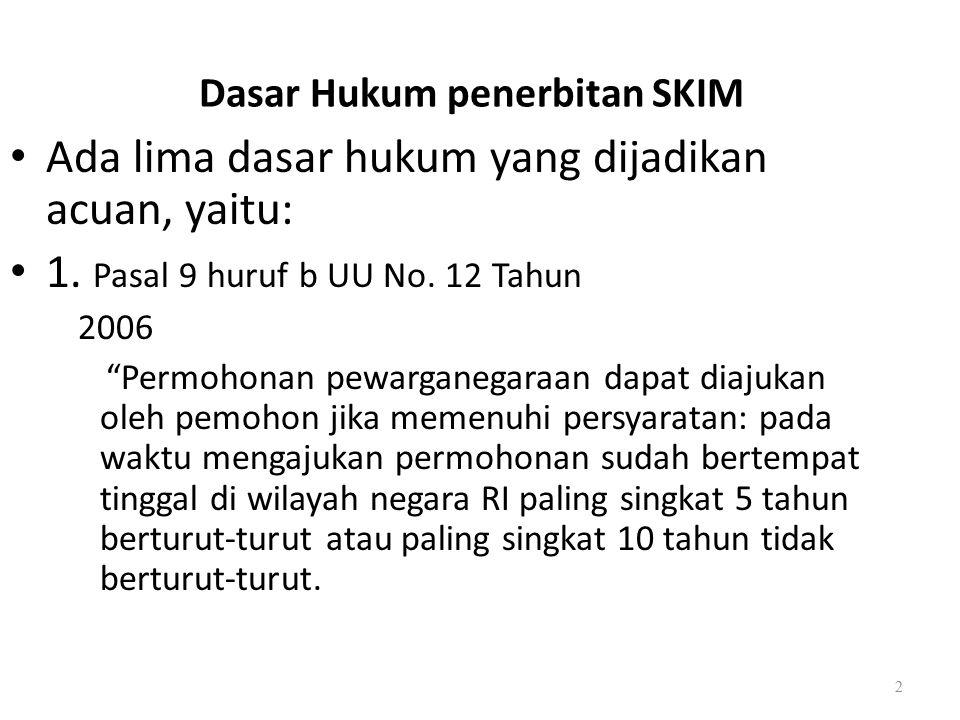 Dasar Hukum penerbitan SKIM