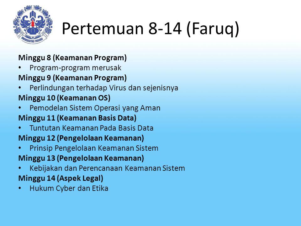Pertemuan 8-14 (Faruq) Minggu 8 (Keamanan Program)