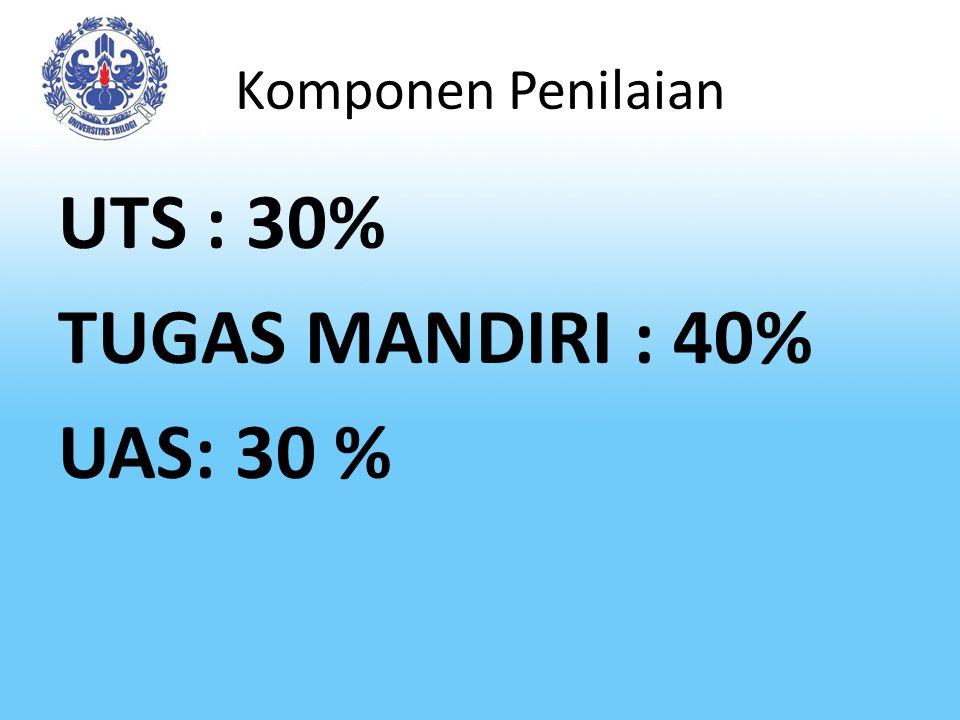 UTS : 30% TUGAS MANDIRI : 40% UAS: 30 %