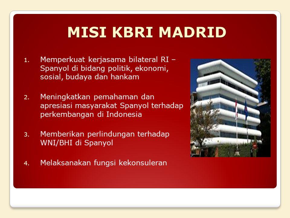 MISI KBRI MADRID Memperkuat kerjasama bilateral RI – Spanyol di bidang politik, ekonomi, sosial, budaya dan hankam.