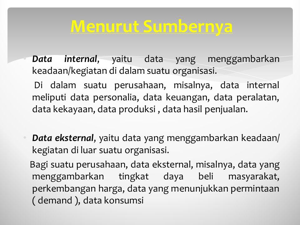 Menurut Sumbernya Data internal, yaitu data yang menggambarkan keadaan/kegiatan di dalam suatu organisasi.