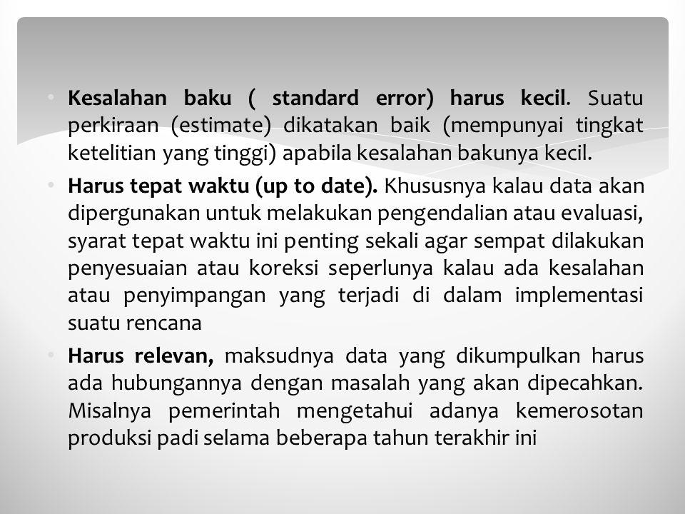 Kesalahan baku ( standard error) harus kecil