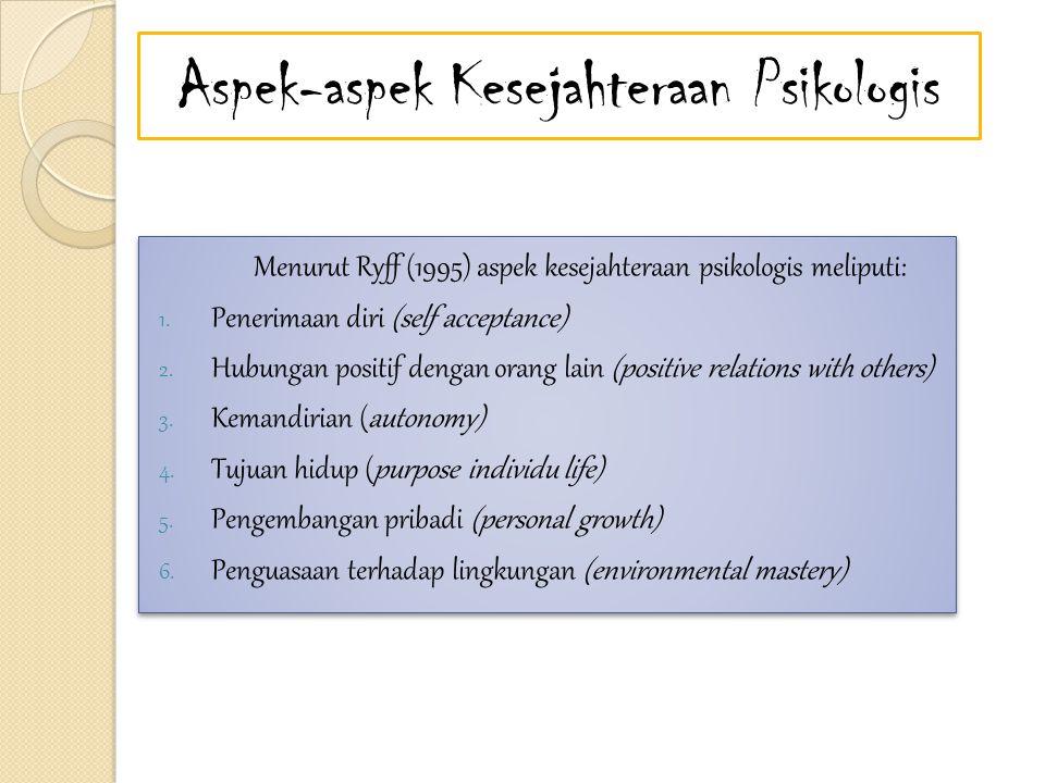 Aspek-aspek Kesejahteraan Psikologis