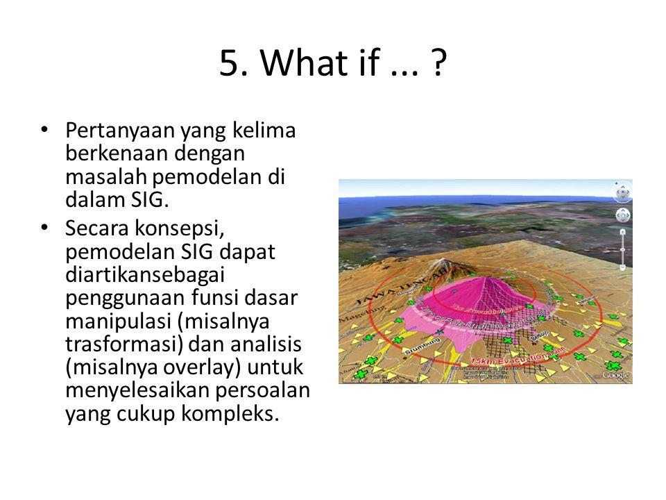 5. What if ... Pertanyaan yang kelima berkenaan dengan masalah pemodelan di dalam SIG.