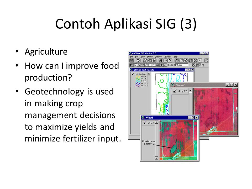 Contoh Aplikasi SIG (3) Agriculture How can I improve food production