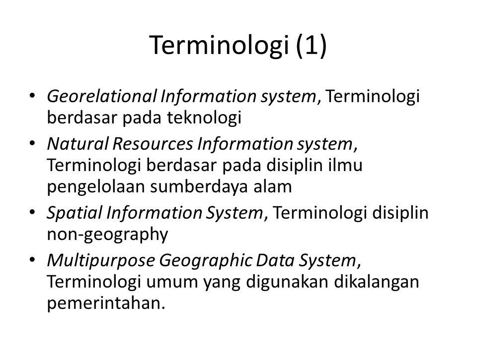 Terminologi (1) Georelational Information system, Terminologi berdasar pada teknologi.