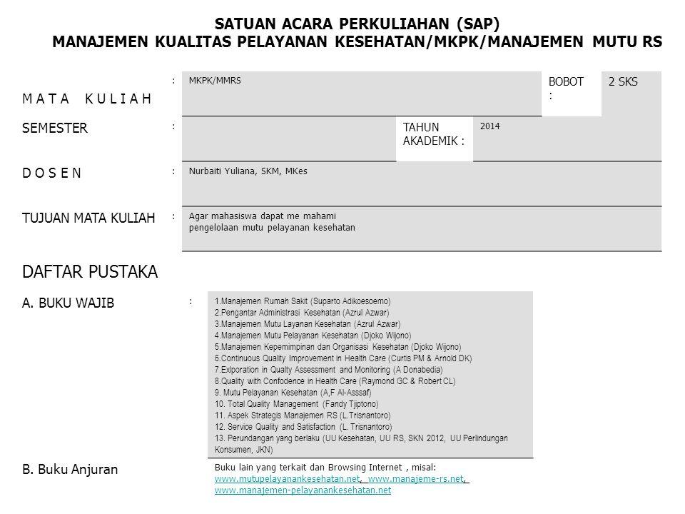 MANAJEMEN KUALITAS PELAYANAN KESEHATAN/MKPK/MANAJEMEN MUTU RS