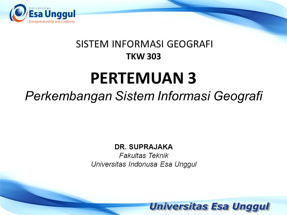 SISTEM INFORMASI GEOGRAFI TKW 303