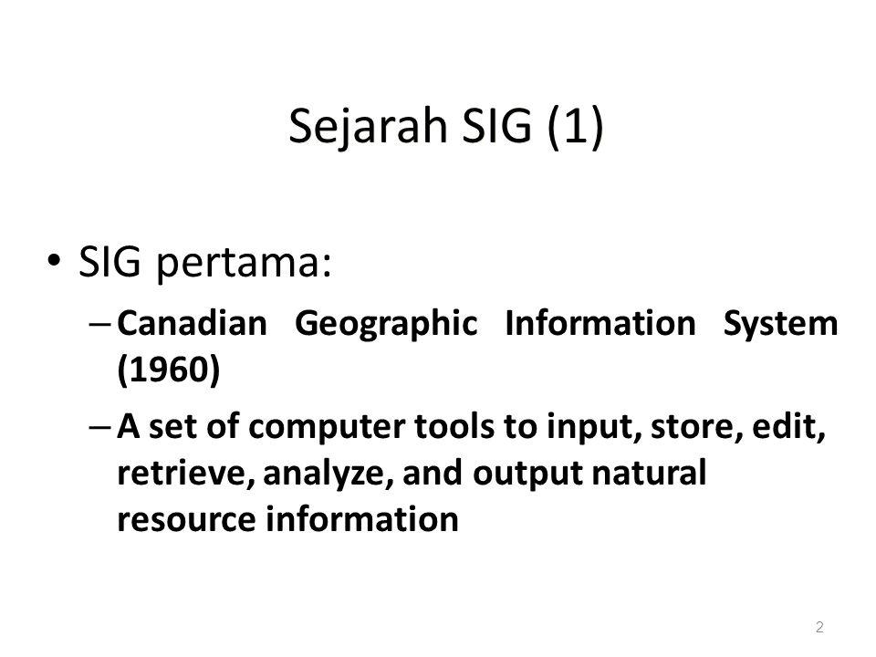 Sejarah SIG (1) SIG pertama: