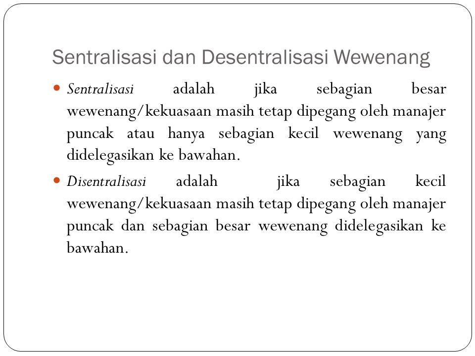 Sentralisasi dan Desentralisasi Wewenang