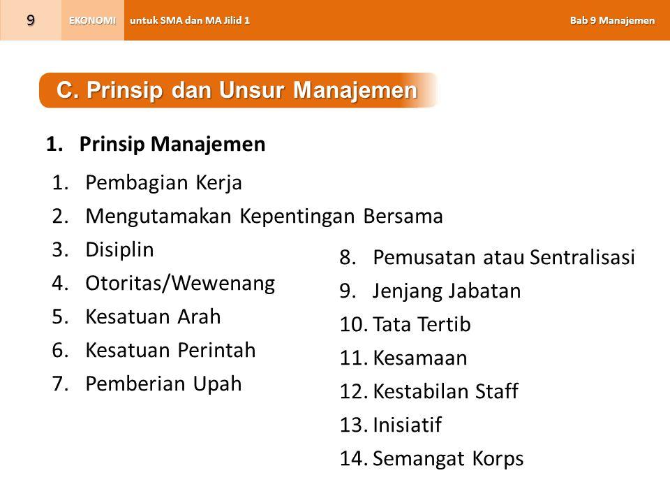 C. Prinsip dan Unsur Manajemen