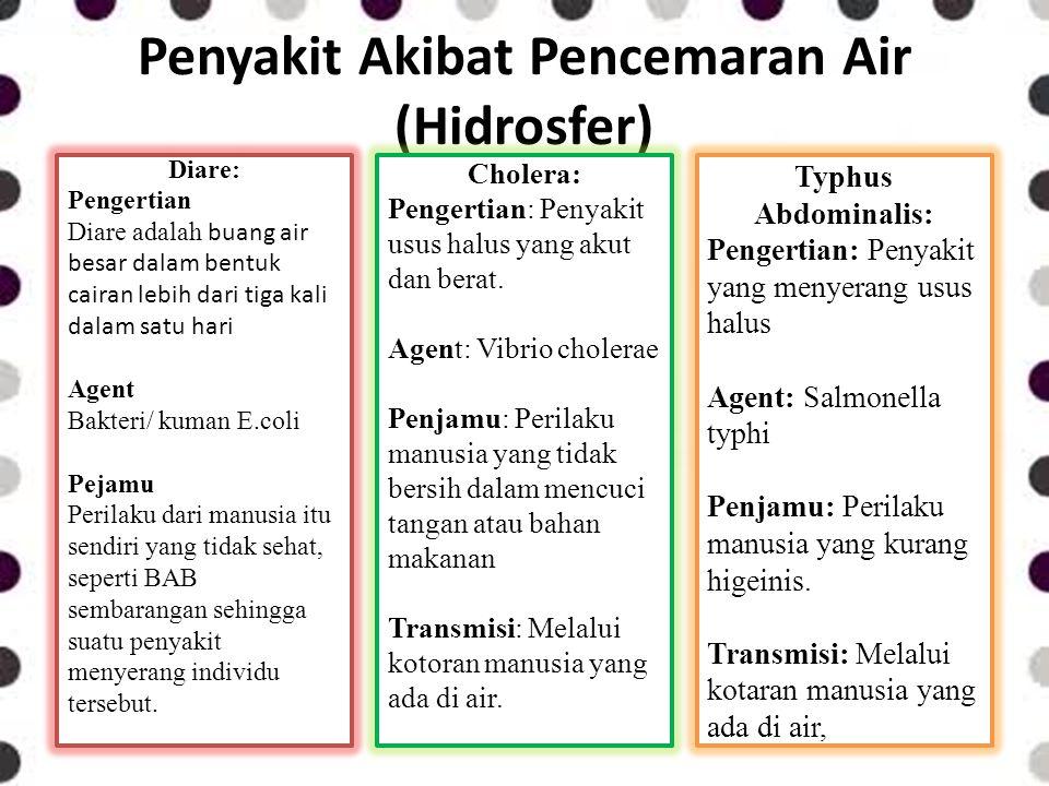 Penyakit Akibat Pencemaran Air (Hidrosfer)