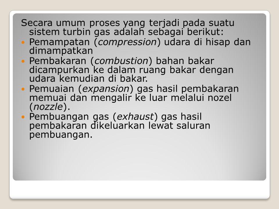 Secara umum proses yang terjadi pada suatu sistem turbin gas adalah sebagai berikut: